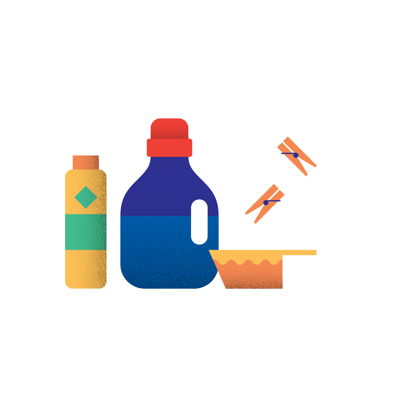 Illustration of laundry detergents and clothespins (4)