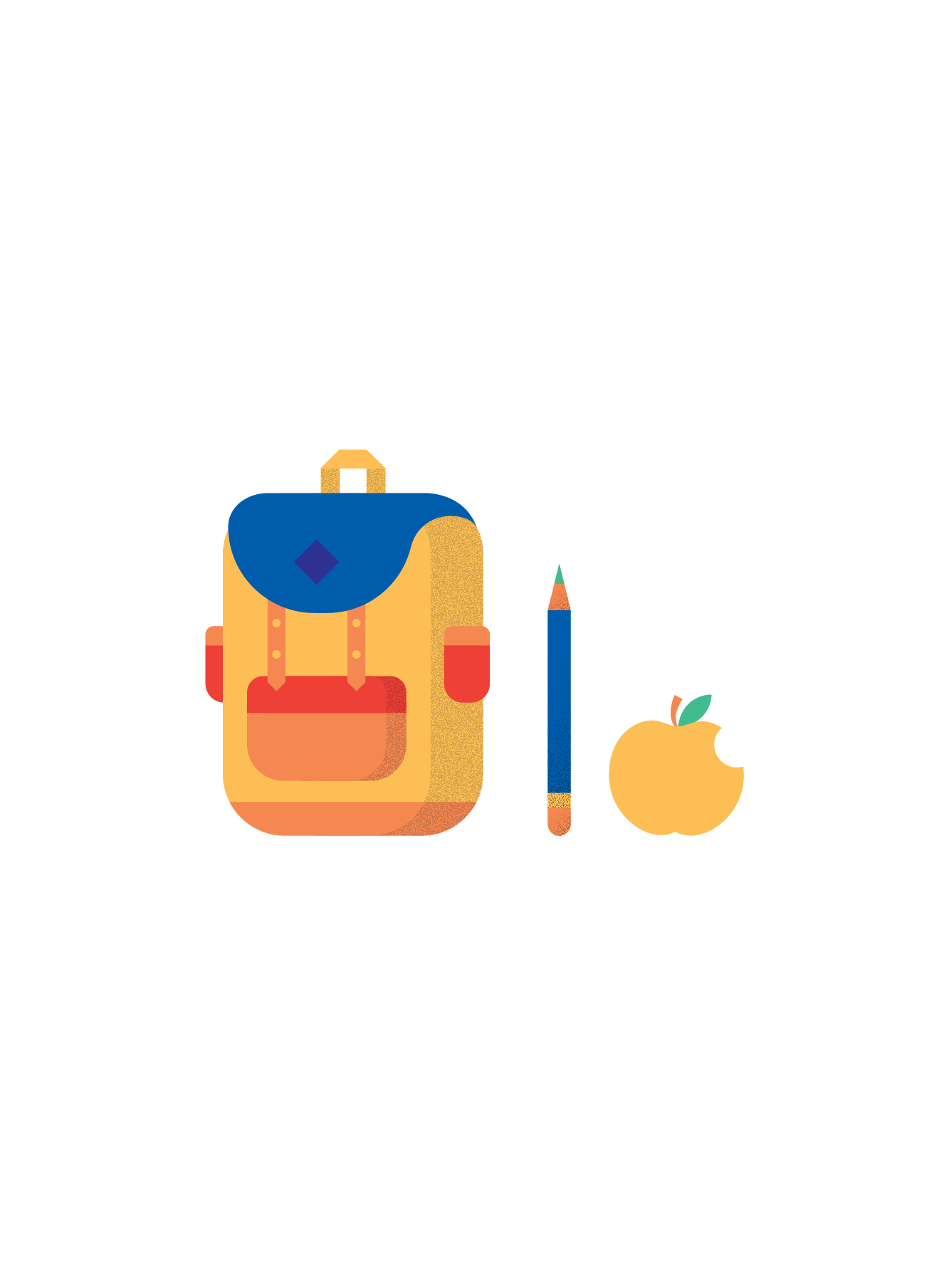 Illustration of a backpack, a pencil, and an apple