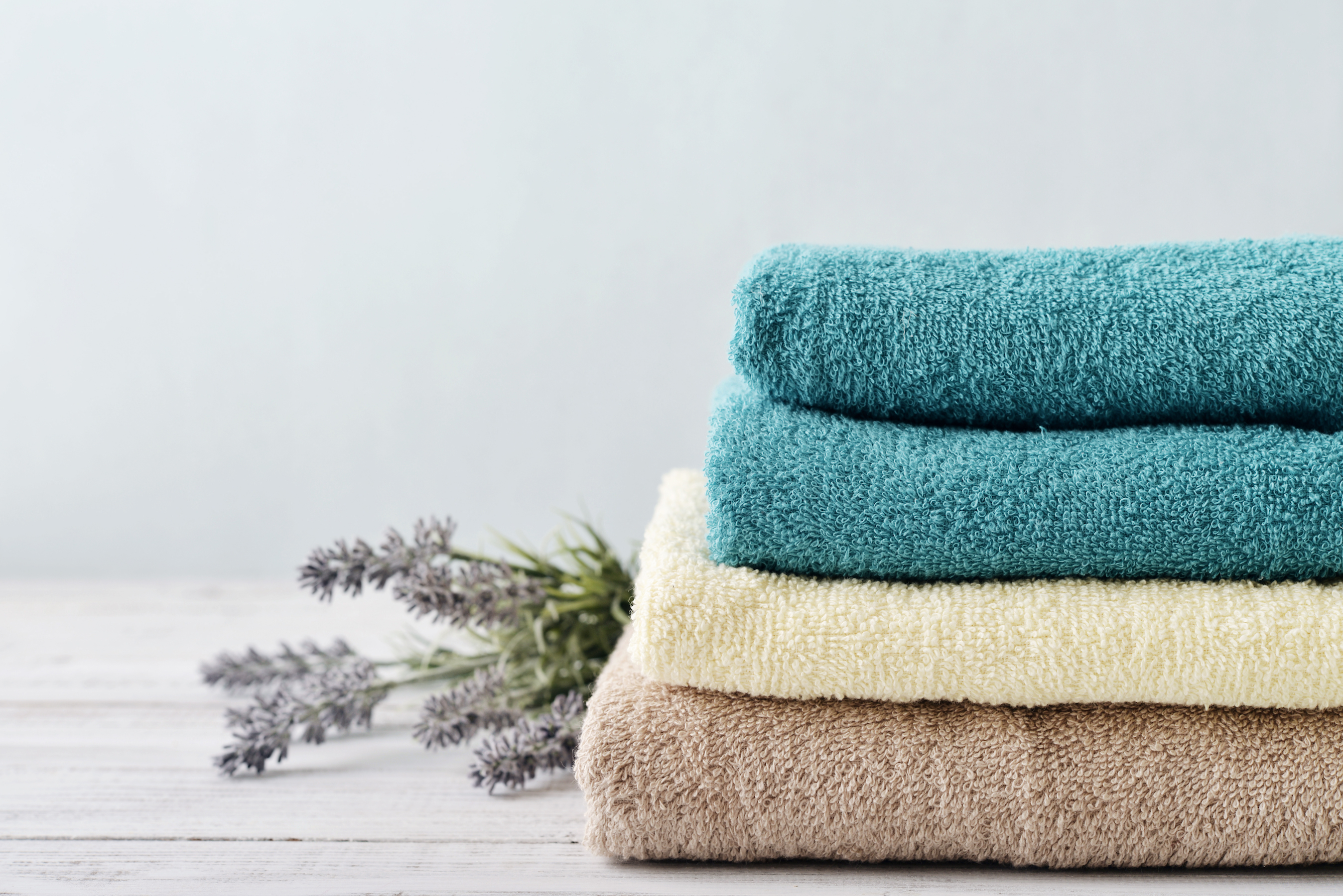 Stack of Colorful Bath Towels
