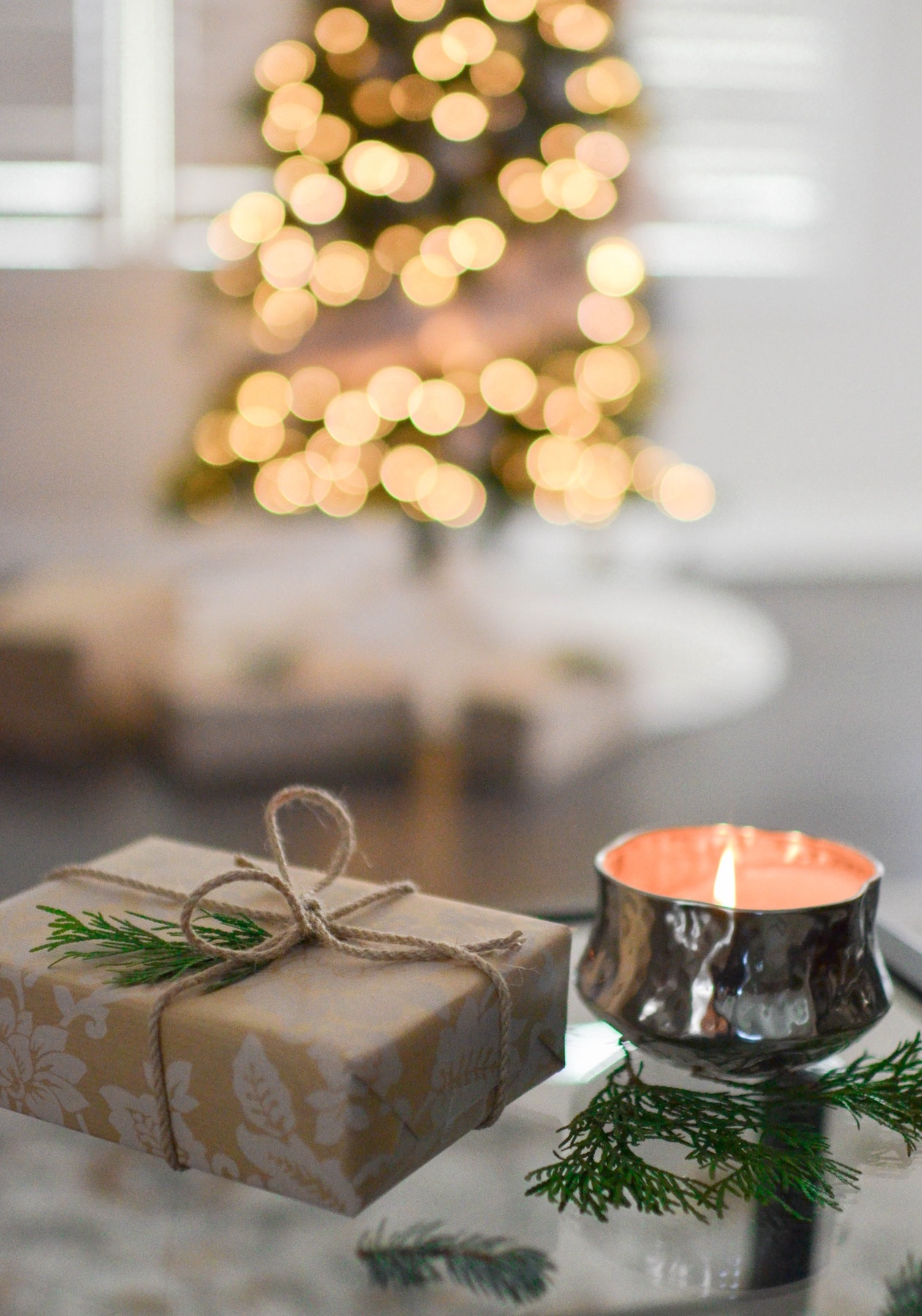 Christmas tree, present, and candle