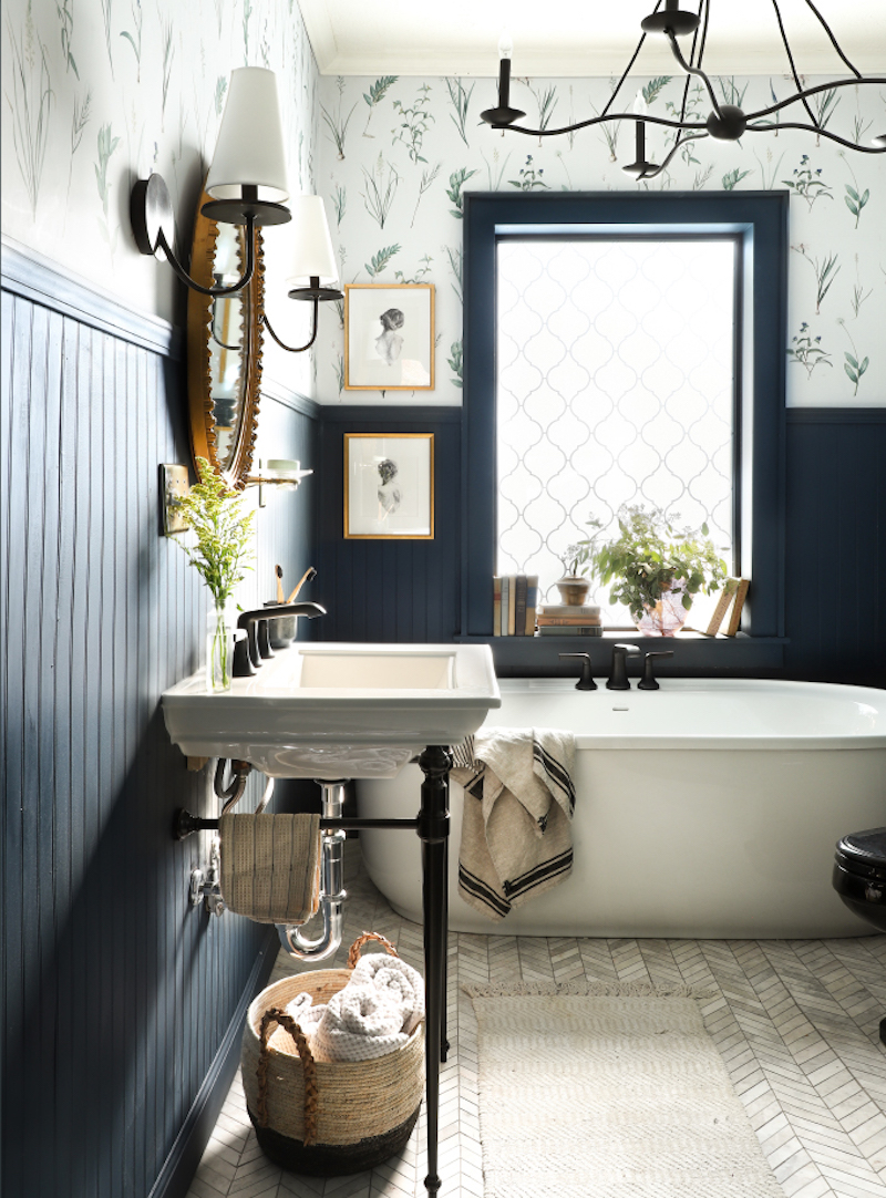 One Room Challenge, Bathroom Reveal, beautiful bathroom with removable wallpaper