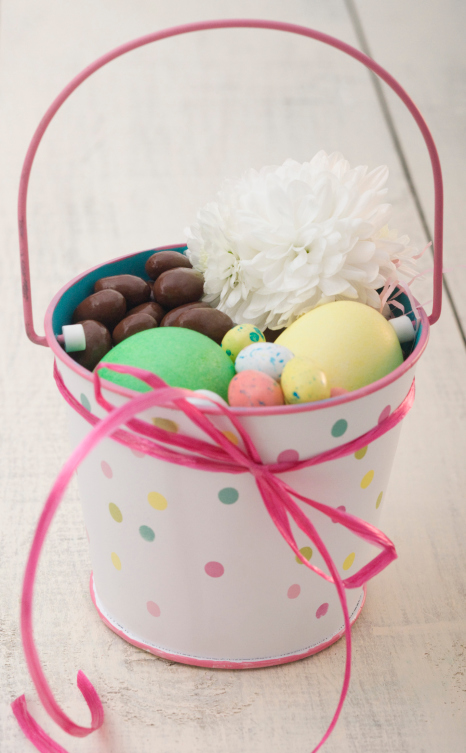 easter eggs and chocolate in a pot