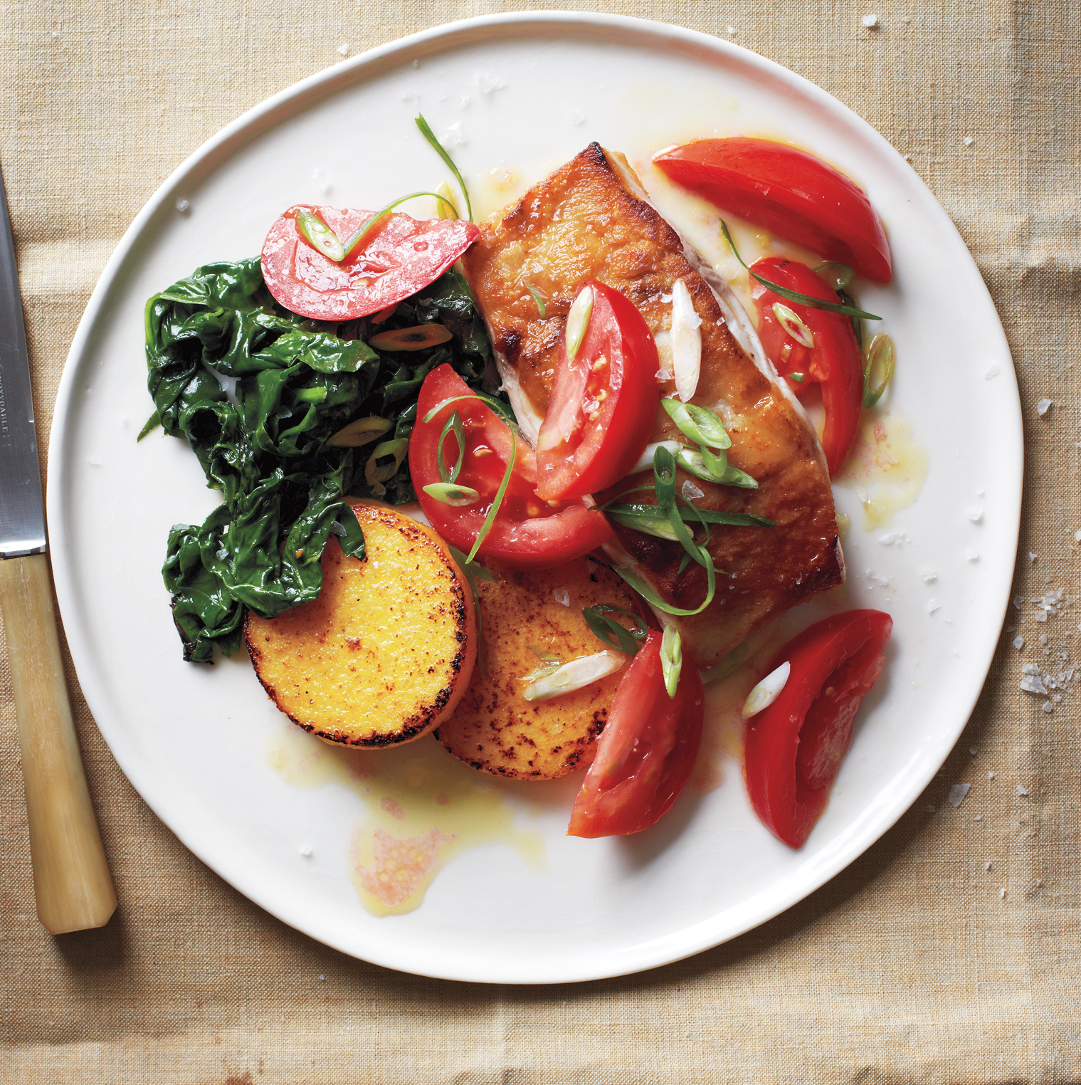 Cod With Marinated Tomatoes, Polenta, and Sautéed Spinach