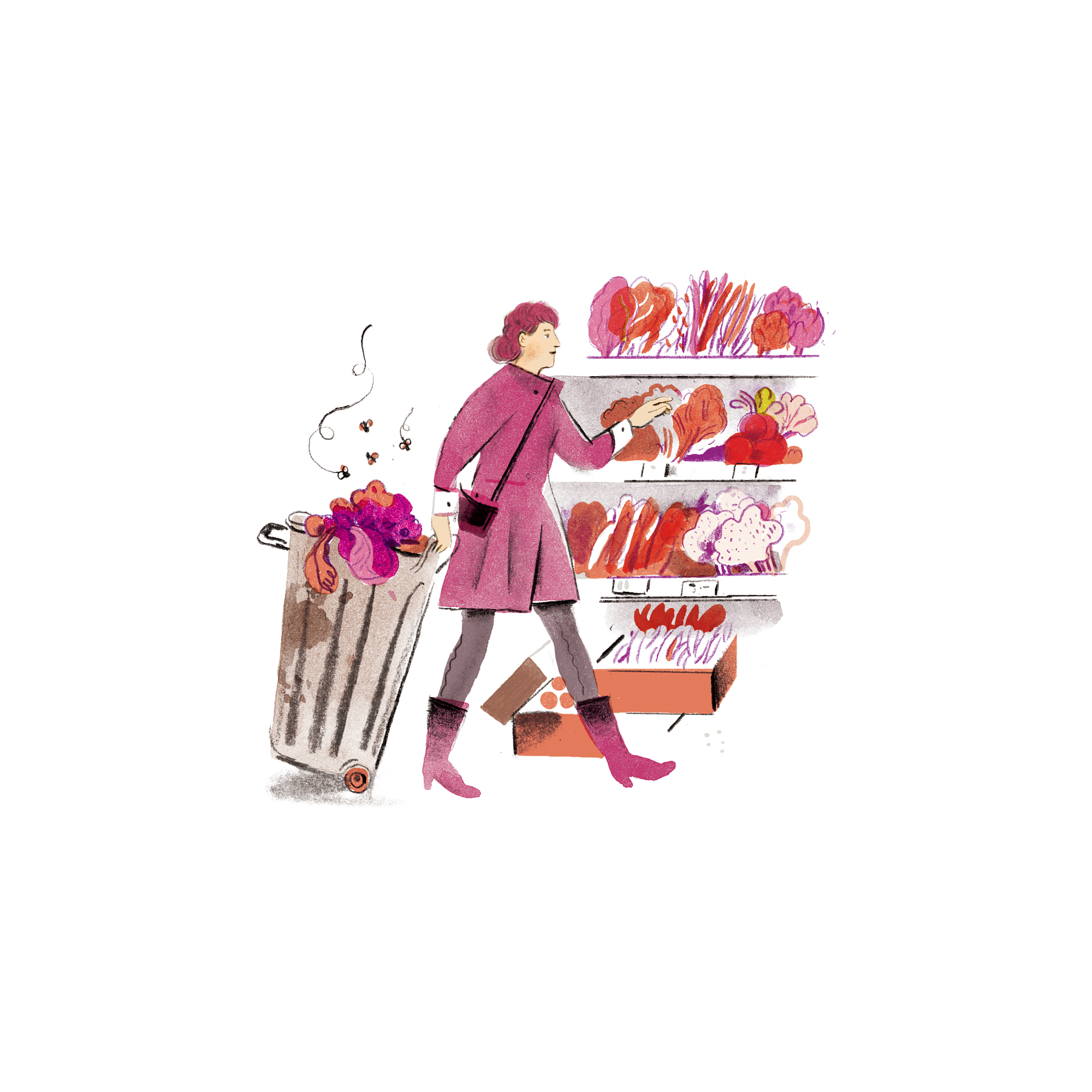 Illustration: woman food shopping with a trash can behind her