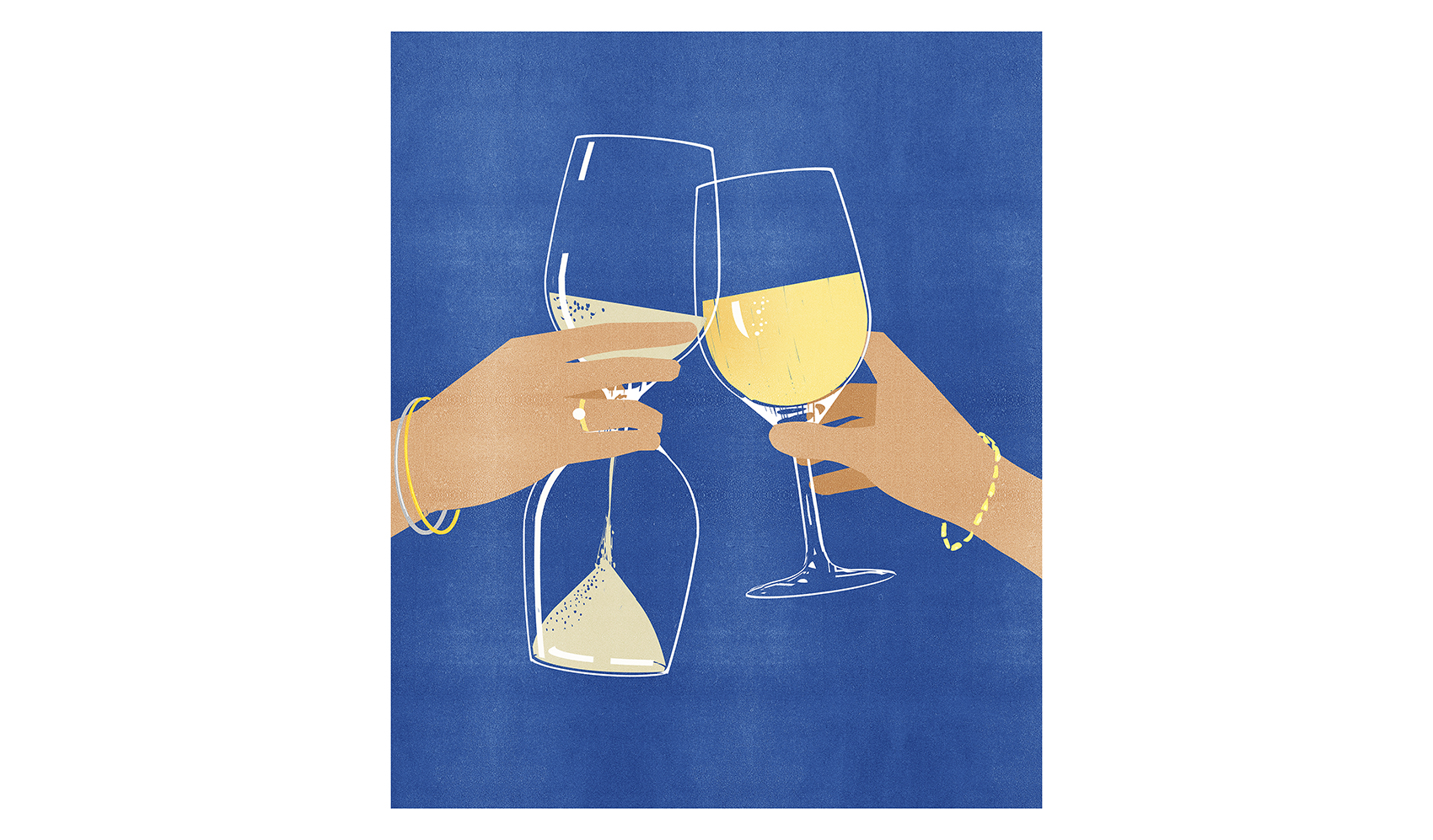 Illustration: toasting glass with hourglass