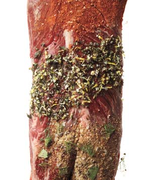Piece of meat with different rubs