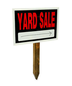 Yard sale sign silo