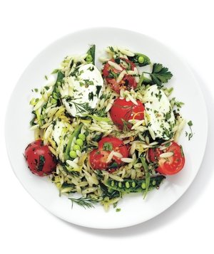 Mozzarella, Orzo, and Snap Pea Salad Recipe | Real Simple