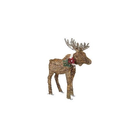 Holiday Lighted Rattan Moose 6 Exterior Holiday