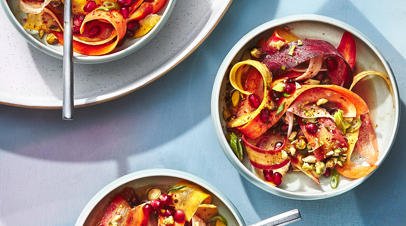 Shaved Rainbow Carrot Salad With Pomegranates and Pistachios