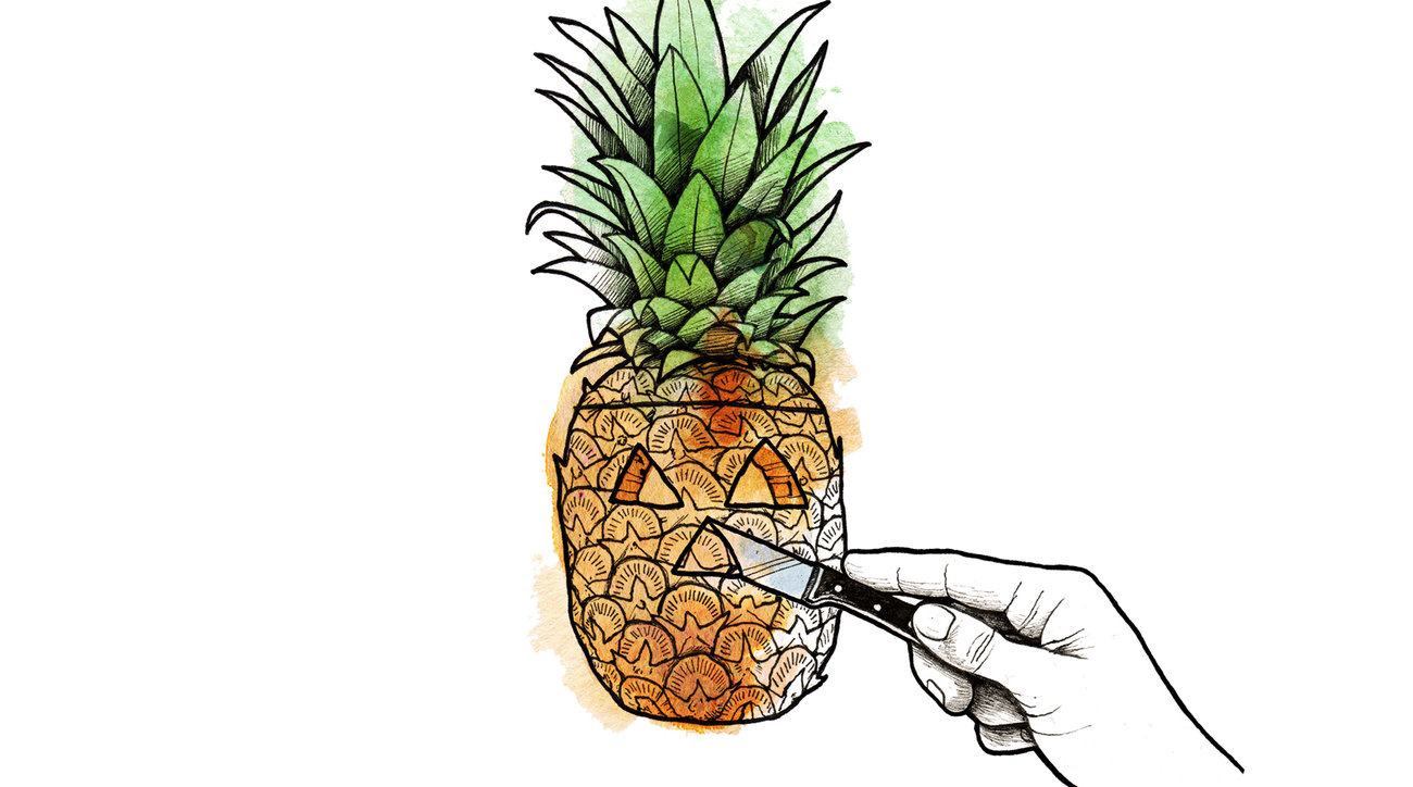 Illustration: Carving a pineapple