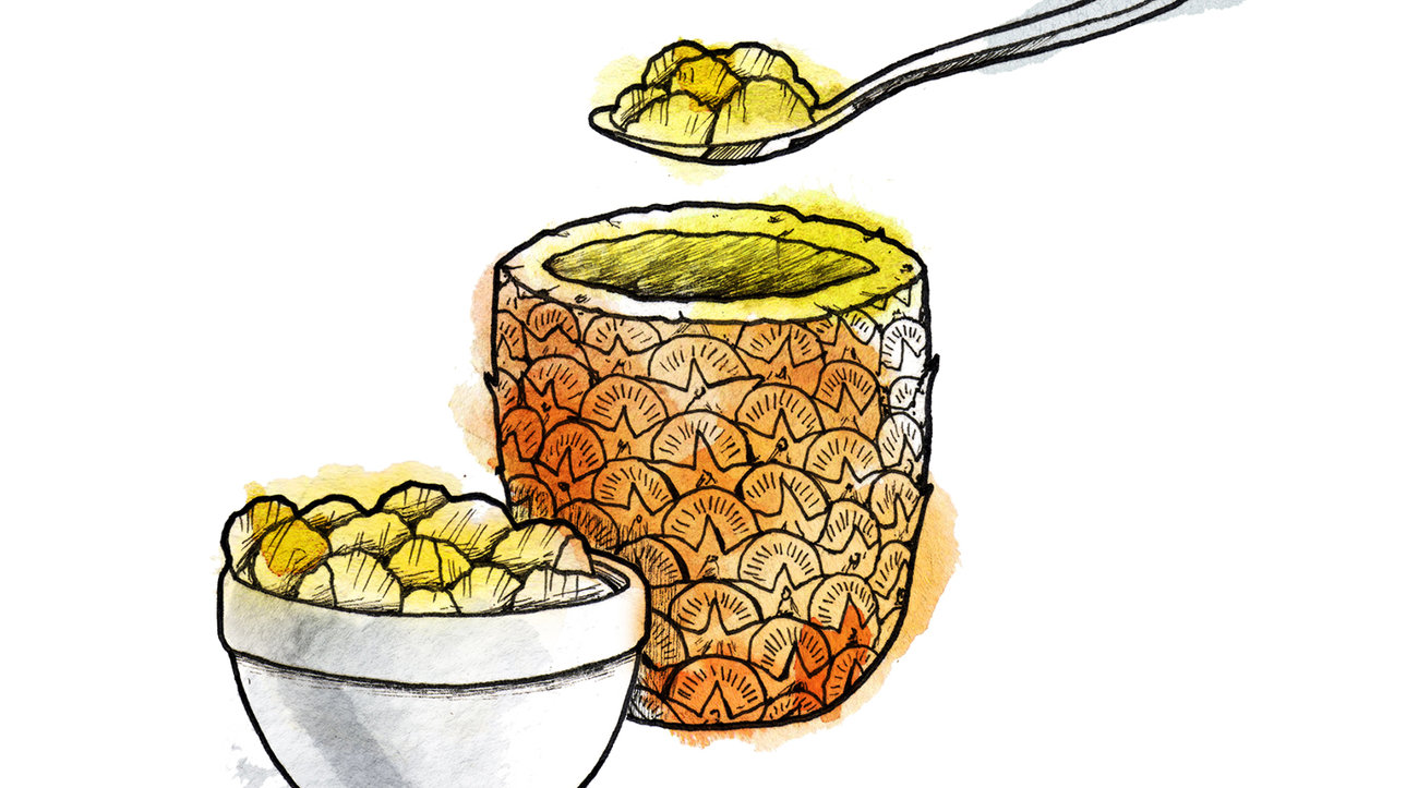 Illustration: Scooping out a pineapple