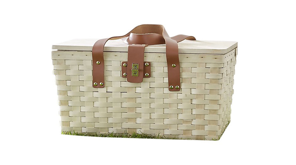 Outfitted Wood Picnic Basket