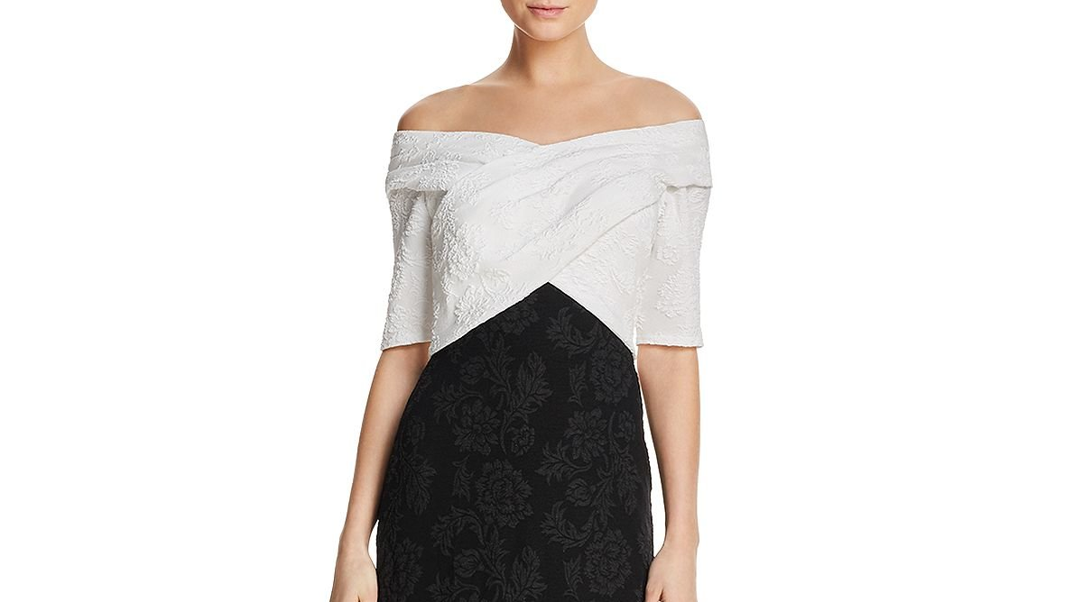black and white off the shoulder crepe gown