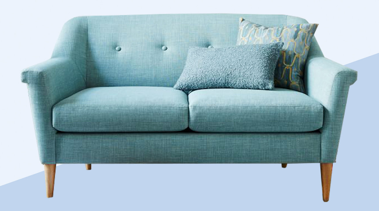 Teal Sofa from West Elm for First Apartment Checklist