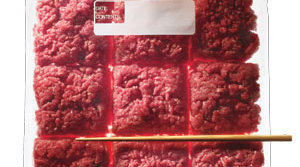 Ground beef divided into square sections in a plastic ziploc bag
