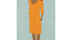 Illustration of a woman wearing an orange dress