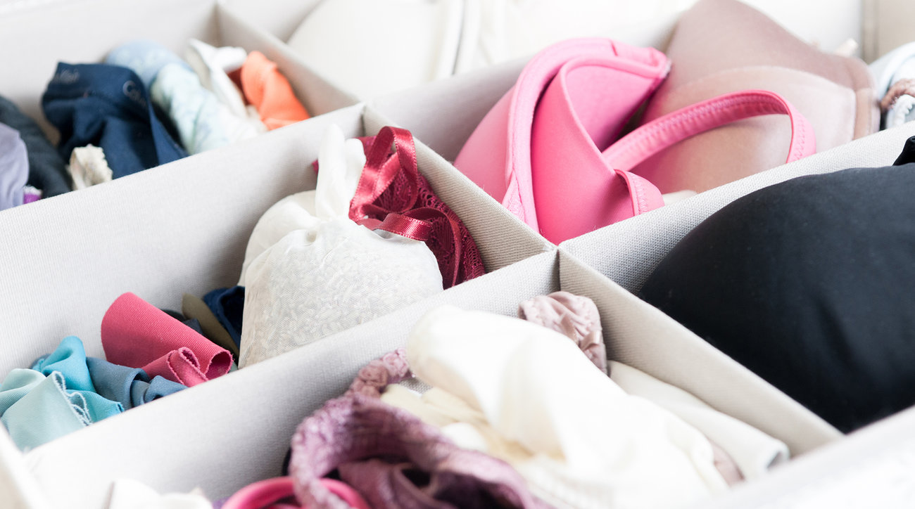 Underwear and bras in organized drawer