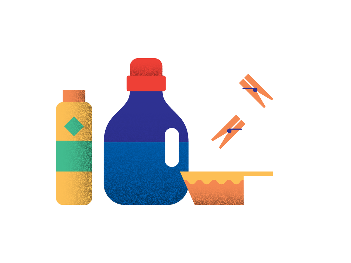Illustration of laundry detergents and clothespins