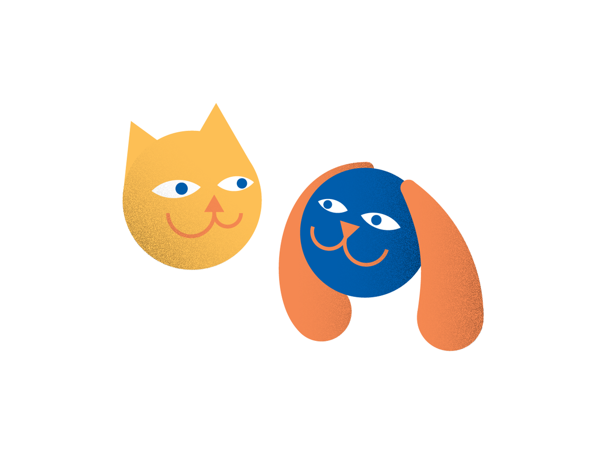 Illustration of a cat and a dog