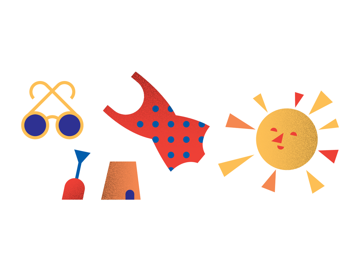 Illustration of the sun, a bathing suit, sunglasses, and a shovel and pail
