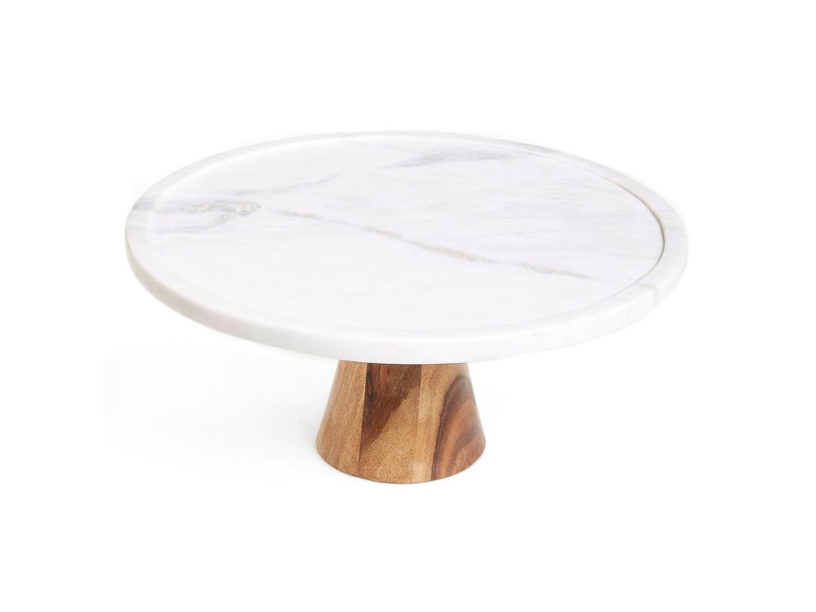 Marble & Wood Cake Stand