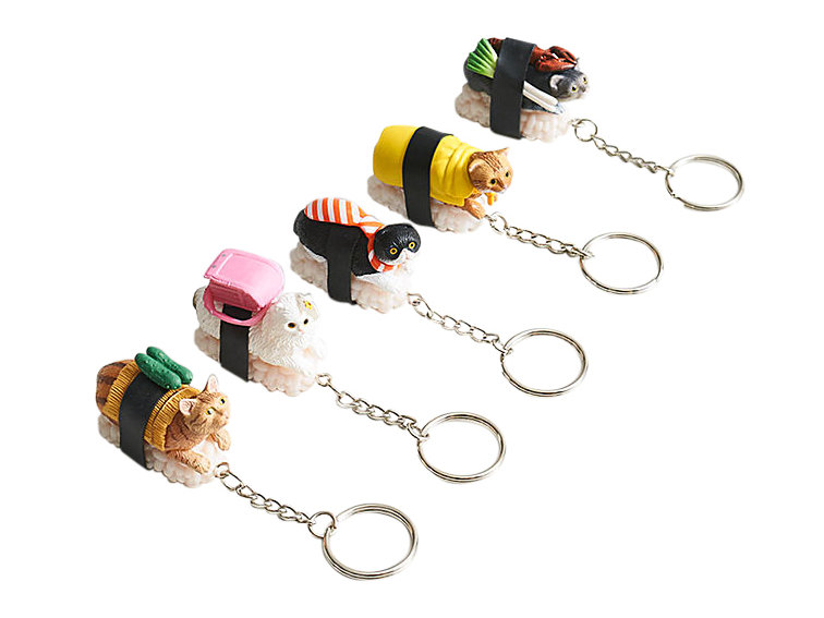 White Elephant Gift Ideas: Cat Sushi Keychains