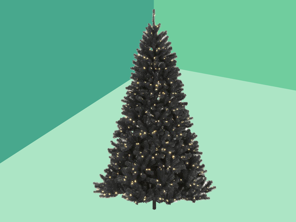 black white and colored christmas trees
