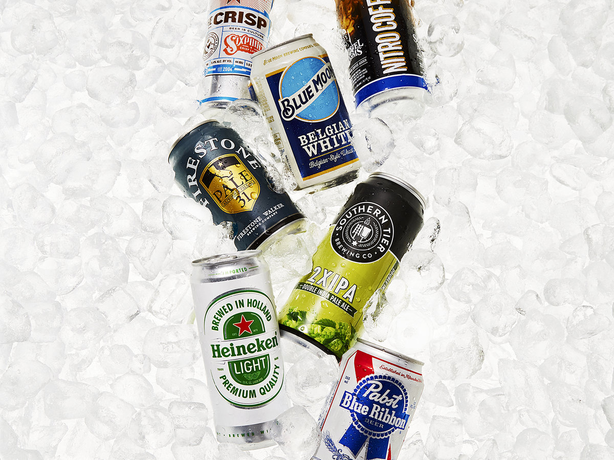 Canned beers on ice