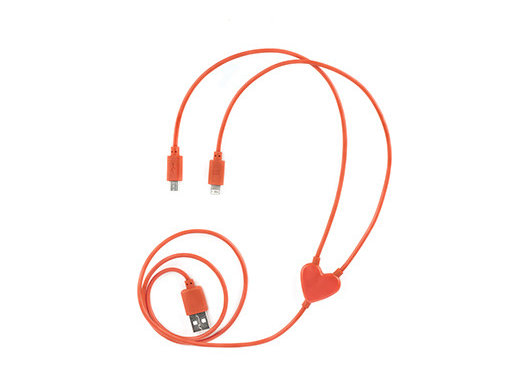 Unique Valentins Day Gifts: eDual Heart iPhone and Micro USB Charging Cable