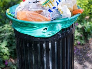 Plastic wrappers and fast-food packaging in garbage bin