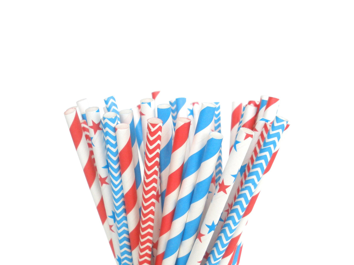 July 4th Paper Straws