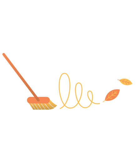 Illustration of a broom and autumn leaves