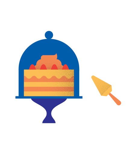 Illustration of a covered layer cake