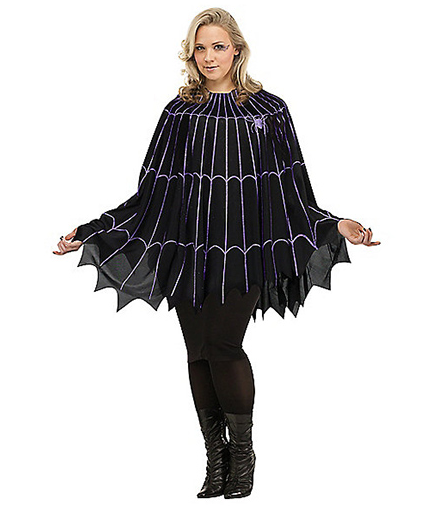 Spiderweb Black and Purple Poncho Costume