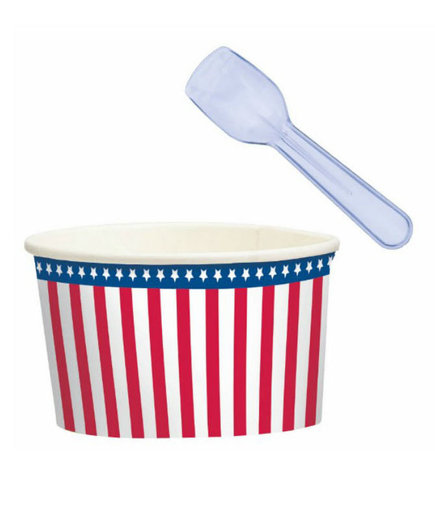 Patriotic American Flag Ice Cream Cups