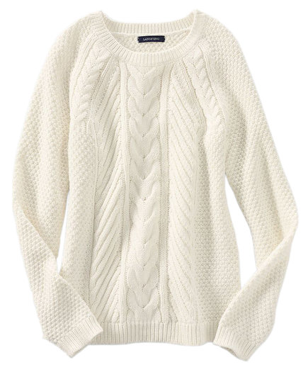 Lands End lofty blend cable sweater ivory