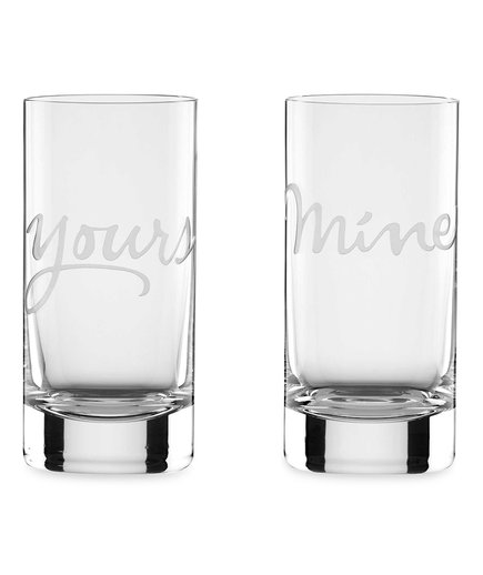 'Mine' and 'Yours' Highball Glasses