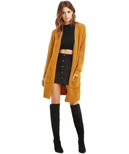 Forever 21 Contemporary Open-Front Longline Cardigan