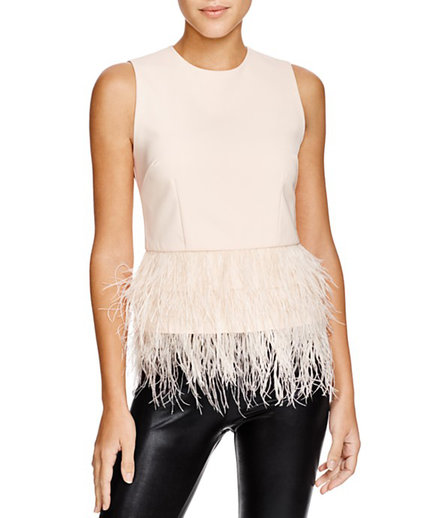 Lucy Paris Feather Trim Top