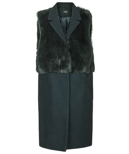 Topshop Sleeveless Faux Fur Hybrid Coat