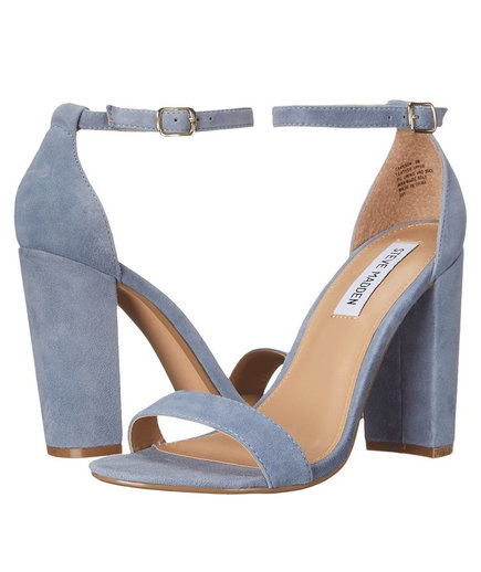 "Steve Madden ""Carrson"" Blue Suede Leather Ankle Strap Heels"