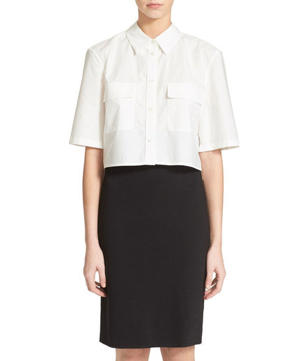 Equipment 'Slim Signature' Crop Cotton Shirt