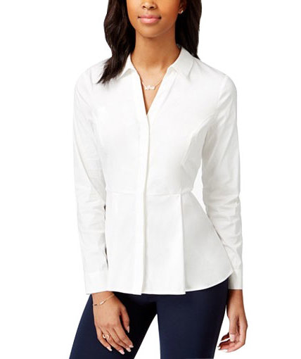 Maison Jules Long-Sleeve Peplum Shirt