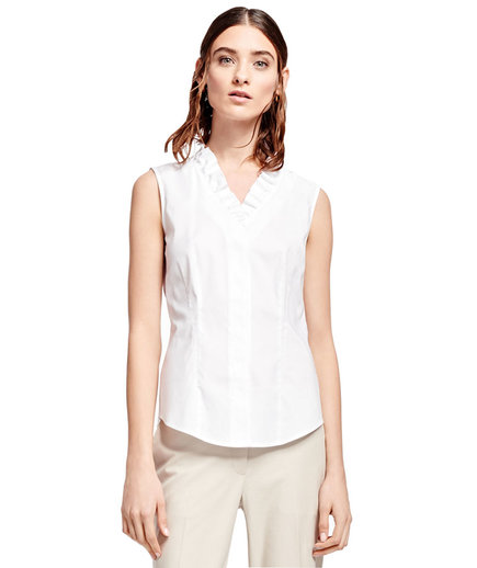 Brooks Brothers Sleeveless Ruffled Blouse