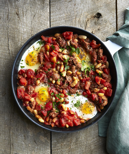 Clone of Baked Eggs with Beans and Lamb Sausage