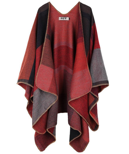 DJT Plaid Pattern Wrap Shawl Poncho