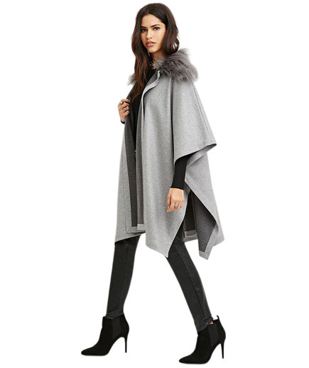 Forever 21 Faux Fur-Collar Poncho
