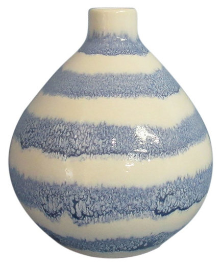 Stoneware Handpainted Blue Stripes Vase