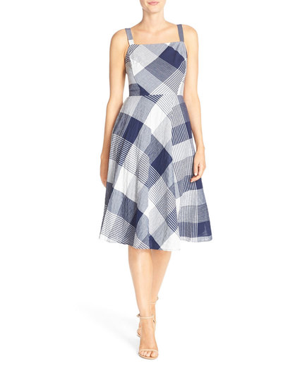 Taylor Dresses check stretch cotton fit & flare dress